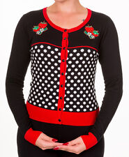 Banned Rockabilly 50s Polka Dot Strawberry Pinup Cardigan Button Top Black Red