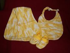 3 Pc. Layette Set Infant Bibs, Burp Cloth, and Slippers (crib shoes) him or he 1