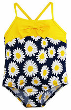 Wippette Baby Girls All Over Sunflower Print Once Piece Swimsuit with Bow