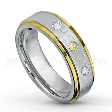 0.21ctw Citrine & Diamond 3-Stone Tungsten Ring, November Birthstone Ring #330