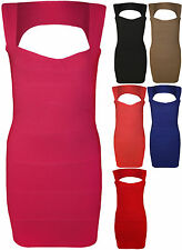 New Womens Bandage Bodycon Cut Out Back Ladies Sleeveless Mini Party Dress