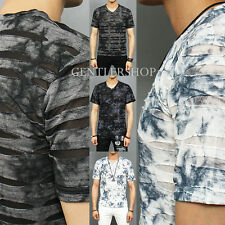 Men's Fashion See Through Mesh Stripe Random Wash Color V Neck Tee, GENTLERSHOP