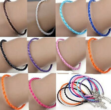 5/20X Leather Braid Bracelets Anklets Rope Cord Lobster Clasp Making Craft 24cm