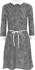 New Womens Collar Contrast Print Stretch Bodycon 3/4 Sleeve Belted Ladies Dress