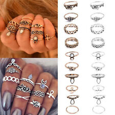 NEW Punk Vintage Women Knuckle Rings Tribal Ethnic Hippie Stone Joint Ring Set