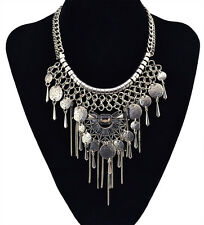 New European Fashion Silver Plated Tassel Hollow Flower Statement Charm Necklace