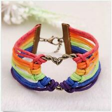 Pride Valentine's Gifts Braid Rainbow Lesbian Bracelet LGBT Flag Love Charm Gay
