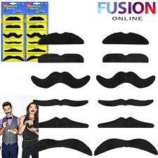 12 SELF ADHESIVE ASSORTED FAKE MOUSTACHE MUSTACHE SET FANCY DRESS PARTY MEXICAN
