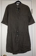 JAMES PERSE Marjoram Olive Summer Linen Drawstring Waist Shirt Dress $185 NWT