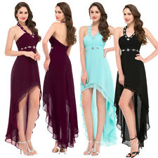 Sexy High-Low Halter Evening Dress Cocktail Party Pageant Chiffon Prom Gown