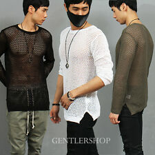 Men's Fashion Sexy Guy Slim Fit See Through Mesh Knit Jumper, GENTLERSHOP