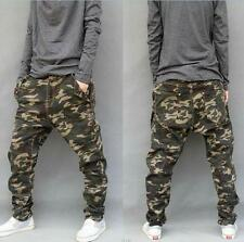 Mens Camo Harem Pants Loose Overalls Cargo Casual Skinny Cotton Trousers new