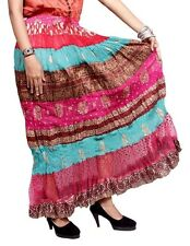 A Indian Silk Sequin Work Boho Hippie Gypsy Casual Embroidered Long Skirt Dress