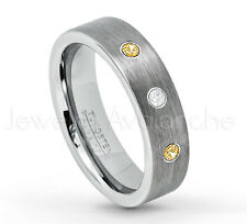 0.21ctw Diamond & Citrine 3-Stone Band, Tungsten Ring, November Birthstone #019