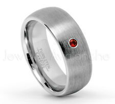 0.07ct Garnet Ring, Brushed Dome Tungsten Carbide Ring, January Birthstone #069