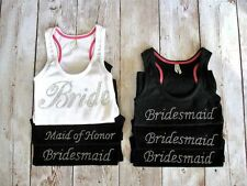 WEDDING FAVOR RHINESTONE BRIDESMAID or  BRIDE TANK TOP SHIRT PERFECT GIFT