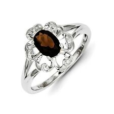 Sterling Silver Oval Smoky Quartz & .01 CT Diamond Ring 2.21 gr Size 6 to 9