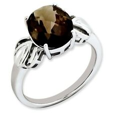 Sterling Silver Round Cut Smoky Quartz Ring 2.88 gr Size 5 to 10