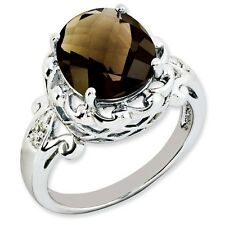 Sterling Silver Round Smoky Quartz & .01 CT Diamond Ring 3.15 gr Size 5 to 10