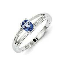 Sterling Silver Oval Cut Tanzanite & .01 CT Diamond Ring 1.29 gr Size 6 to 9