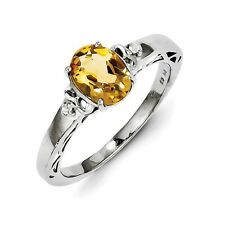 Sterling Silver Oval Cut Citrine & .05 CT White Topaz Ring 1.87 gr Size 6 to 9