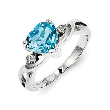 Sterling Silver Blue Topaz & .01 CT Diamond Heart Ring 2.25 gr Size 6 to 9