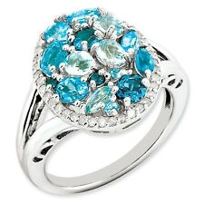 Sterling Silver Blue Topaz & .20 CT Diamond Cluster Ring 4.90 gr Size 5 to 10