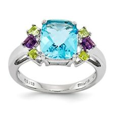 Sterling Silver Light Blue Topaz Amethyst & Citrine Ring 2.70 gr Size 5 to 10