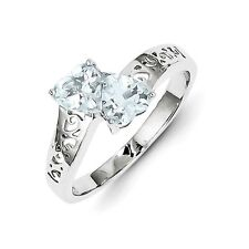 Sterling Silver Double Heart Shaped Aquamarine Ring 2.00 gr Size 6 to 8