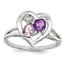 Sterling Silver Amethyst Pink Quartz Heart & .08 CT Diamond Ring Size 6 to 9