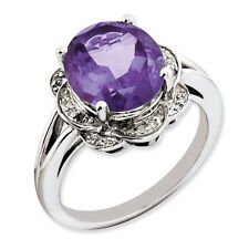 Sterling Silver Round Amethyst & .10 CT Diamond Ring 3.66 gr Size 5 to 10