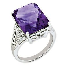 Sterling Silver Square Cut Amethyst Ring 3.38 gr Size 5 to 10
