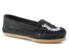 Roper Womens Casual Black Suede Leather Horseshoe Crystal Overlay Moccasin Shoe