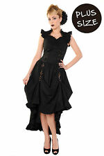 Banned Black Party Dress Long Gothic Victorian Steampunk PLUS SIZE 18 20 22 *UK*