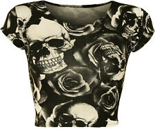 New Womens Skull Roses Monochrome Print Cap Sleeve Vest Ladies Crop Top