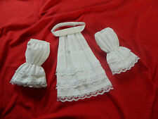 BOYS/MENS CRAVAT/JABOT AND CUFFS, FANCY DRESS, WHITE, VARIOUS SIZES, BURNS NIGHT