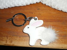 Authentic Coach Leather Rabbit Bunny Key Fob Keychain Patent Leather Real Fur