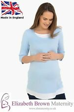 Blue and White Mock-Layered Maternity Top 10-12 14-16 18-20 22-24 26-28 Fashion