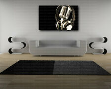 Retro Microphone Headphones Music Canvas Art Poster Print Home Wall Decor