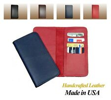 Duplicated Standard Leather Checkbook Cover w/ Credit Card Pockets, Made in USA