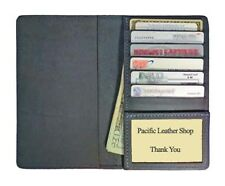 US Made 100% Leather Top Stub Checkbook Cover w/ cc pocket for Top Stub Checks