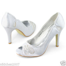 womens diamantes peep toe platform silver high heels wedding evening sexy shoes