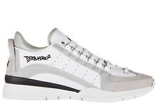 DSQUARED2 MEN'S SHOES LEATHER TRAINERS SNEAKERS NEW 551 WHITE 3C7