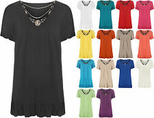 New Womens Plus Size Necklace V Neck Ladies Short Sleeve Frill Tunic Top