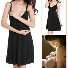 Maternity Nursing Bra Pajamas Suit Night Gown Breastfeeding Sleepwear Black