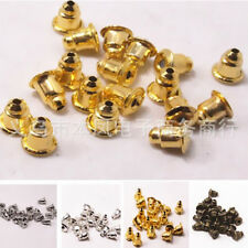 100Pcs Gold Jewelry Accessories Metal Bronze Finding Ear Caps Bullet Silver New