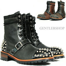 Men's Fashion Studded And Belted Handmade Leather Boots HJ 5149, GENTLERSHOP