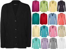 New Plus Size Womens Button Long Sleeve Pocket Top Ladies Knitted Cardigan