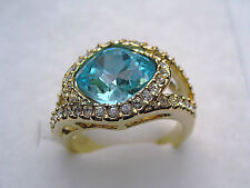Lot Size 6-9 women ruby&blue sapphire cz 10kt yellow gold filled  GF ring