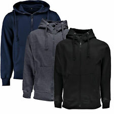 NEW MENS BOYS BASIC FULL ZIP THROUGH HOODIE JACKET TOP HOODY FLEECE LINED S - XL